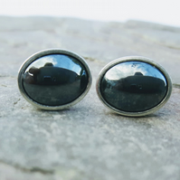 Sterling Silver Oval Stud Earrings with Haematite