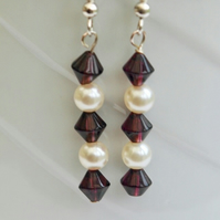 50% off Ruby and Pearl Beaded Drop Earrings