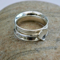 Silver Spinner Ring with Silver Heart,  size O