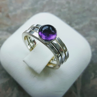 Stacking Rings, Set of Three, Sterling Silver with Amethyst