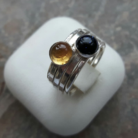 Stack of Five Sterling Silver Rings: Moon and Stars, with Citrine and Goldstone