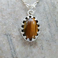 Silver Filigree Pendant with Golden Tiger's Eye Gemstone