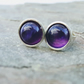 Sterling Silver Stud Earrings with Amethyst