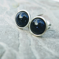 Sterling Silver Stud Earrings with Blue Goldstone, Night Sky