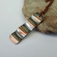 Copper Ripple Pendant Necklace
