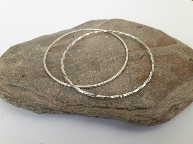 Pair of Sterling Silver Stacking Bangles, Hallmarked