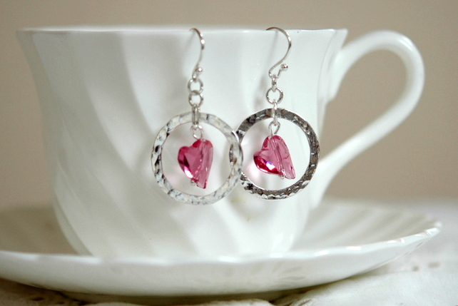 Sterling Silver Drop Earrings with  Pink Swarovski Crystal Hearts