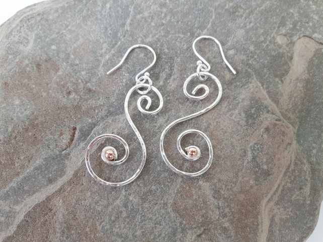 Sterling Silver Scrolled Drop Earrings with Copper
