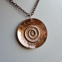 Copper and Sterling Silver Pendant, Spiral Galaxy