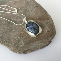 Sterling Silver Pendant with Sodalite, Hallmarked