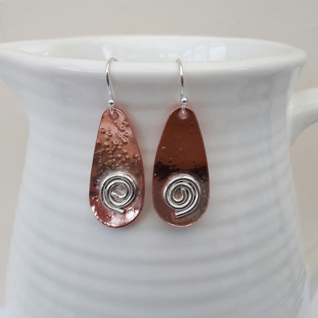 Copper Drop Earrings with Sterling Silver Spirals