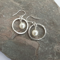 Sterling Silver Drop Earrings, Hammered Hoops with Freshwater Pearl