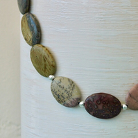 Picture Jasper and Sterling Silver Gemstone Necklace