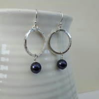 Sterling Silver Dangle Drop Earrings with Hoops and  Dark Blue Freshwater Pearls