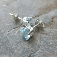 Sterling Silver Stud Earrings with Sky Blue Topaz