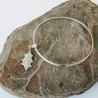 Sterling Silver Bangle with Holly Leaf Charm, Christmas Gift