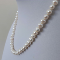 Freshwater Pearl Necklace with Heart Clasp in Sterling Silver
