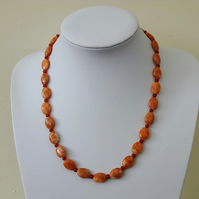 Orange Gemstone Necklace with Calcite, Carnelian and Sterling Silver