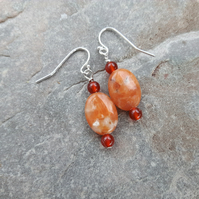 Sterling Silver Drop Earrings with Orange Calcite and Carnelian