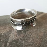 Silver Spinning Ring with Flat Twisted Spinner,  size O