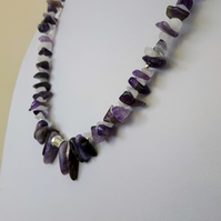 February Birthstone Necklace with Amethyst, Sterling Silver, Quartz and Charoite