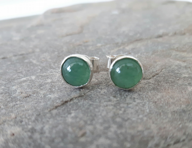 Sterling Silver Stud Earrings with Aventurine Gemstones