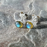 Sterling Silver Stud Earrings with Labradorite Gemstones