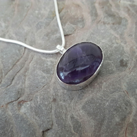 Sterling Silver and Amethyst Oval Pendant, February Birthstone