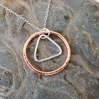 Copper and Sterling Silver Hammered Pendant, Circle and Triangle
