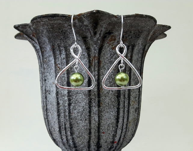 Sterling Silver Triangle Drop Earrings with Light Green Swarovski Pearl
