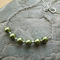 Sterling Silver Necklace with Light Green Swarovski® Pearls