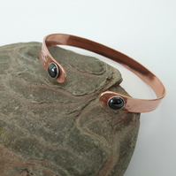 Copper Cuff Bangle with Sterling Silver and Haematite