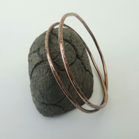 Hammered Copper Double Bangle with Crossover
