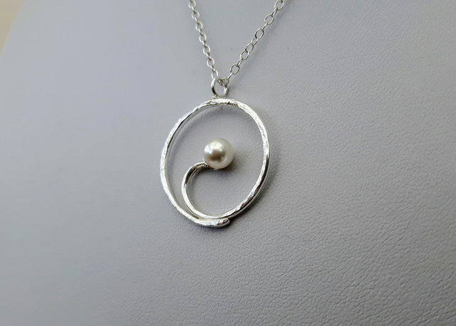 3c827504281ac Sterling Silver Spiral Pendant with Swarovski® Pearl