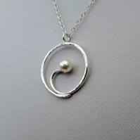 Sterling Silver Spiral Pendant with Swarovski® Pearl