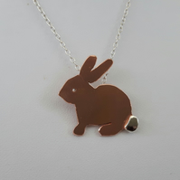 Bunny Pendant, Copper and Sterling Silver