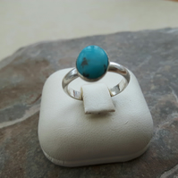 Sterling Silver Ring with Oval Turquoise Gemstone
