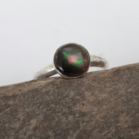 Sterling Silver Adjustable Ring with Black-lipped Pearl