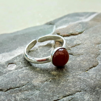 Sterling Silver Adjustable Ring with Carnelian