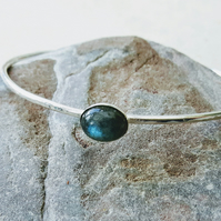 Sterling Silver Bangle, Hallmarked, with Labradorite Gemstone