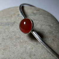Sterling Silver Bangle with Carnelian Gemstone,  Medium, Hallmarked