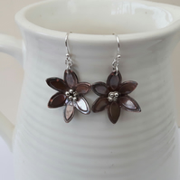 Copper Flower Drop Earrings with Sterling Silver
