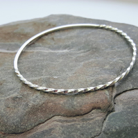 Sterling Silver Bangle, Partly Twisted, Oval, Hallmarked