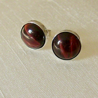 Sterling Silver Stud Earrings with Red Tiger's Eye  Gemstones