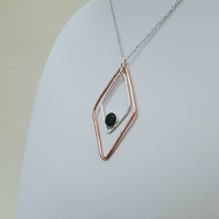Copper and Sterling Silver Pendant with Blue Goldstone, Double Diamond Design