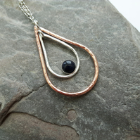 Sterling Silver and Copper Teardrop Pendant with Blue Goldstone