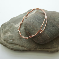 Copper Double Bangle,  Twisted Bangle with Hook and Loop
