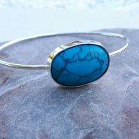 Sterling Silver Bangle wth Large Oval Howlite Turquoise Gemstone