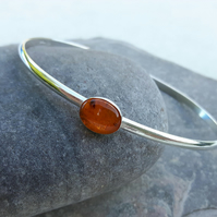 Sterling Silver Oval Bangle with Amber Gemstone
