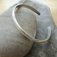Sterling Silver Cuff Bangle, Minimalist Design, Chunky 6mm D-wire